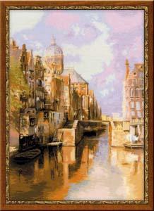 """""""«Амстердам. Канал Аудезейтс Форбургвал» по мотивам картины И. Клинкенберга"""" Риолис 1190 (крестик)"""
