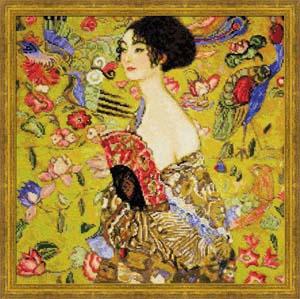 """""""""""Дама с веером"""" по мотивам картины Г.Климта"""" Риолис 1226 (крестик)"""