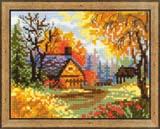 """""""Деревенский пейзаж. Осень"""" Риолис 1325 (крестик)"""