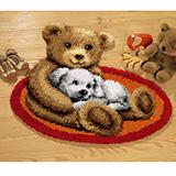 """Коврик """"Мишка и белый щенок"""" Vervaco 2566-37078 (ковровая)"""