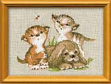 """""""Котята и щенок"""" Риолис 673 (крестик)"""