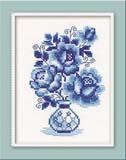 """""""Гжель. Розы"""" Риолис 839 (крестик)"""