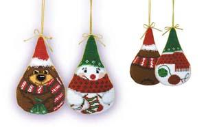 """Новогодние игрушки 2 шт. ""Снеговик и медведь"""" Риолис 927 (крестик)"
