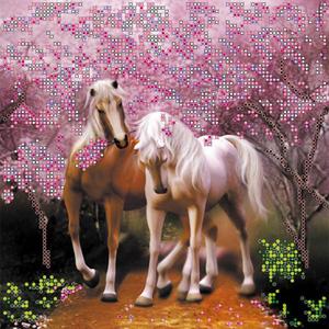 """Схема на холсте """"Влюбленные лошадки"""" Абрис Арт АС-093 (ткань для вышивания бисером)"""