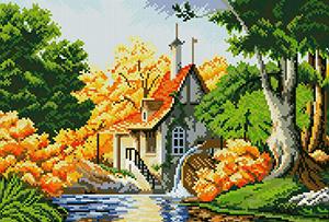 """Набор """"Мельница"""" картина-мозаика АЛМАЗНАЯ ЖИВОПИСЬ АЖ.1037"""