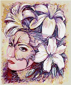 """Набор """"Девушка в цветах"""" картина-мозаика АЛМАЗНАЯ ЖИВОПИСЬ АЖ.1023"""