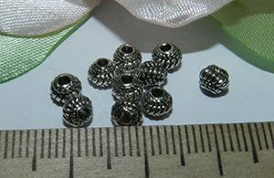 Бусина металлическая серебристая маленький Фонарик 4мм Ser_2