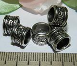 Бусина металлическая серебристая Барабан 7х9мм Ser_3