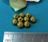 Бусина металлическая золотистая шар с рисунком 7мм Zol_01