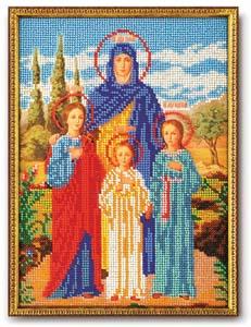 """Набор для вышивания """"Икона Вера, Надежда и Любовь"""" Кроше В-179 (бисер)"""