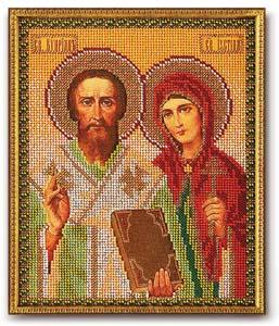 """Набор для вышивания """"Икона Св. Киприан и Устиния"""" Кроше В-186 (бисер)"""