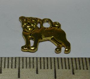 Подвеска металлическая золотистая Собака 15х15мм