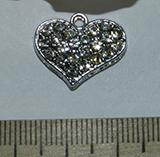 Подвеска металлическая серебристая со стразами Сердце 16х20мм