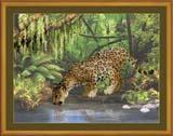 """Леопард у воды"" Риолис РТ-0023 (крестик)"