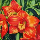 """Набор """"Красные орхидеи"""" картина-мозаика АЛМАЗНАЯ ЖИВОПИСЬ АЖ.1026"""