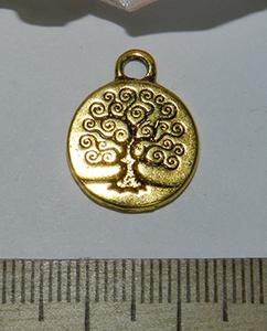 Подвеска металлическая золотистая Дерево 15х19