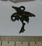 Подвеска металлическая бронзовая Птица 20х27мм