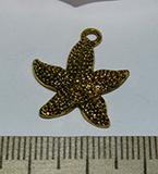 Подвеска металлическая золотистая Морская звезда 19х23мм