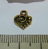 Подвеска металлическая золотистая Сердце 10х13мм
