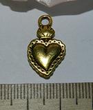 Подвеска металлическая золотистая Сердце 12х21