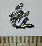 Подвеска металлическая серебристая со стразами Дельфин 17х18мм
