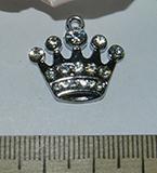 Подвеска металлическая серебристая со стразами Корона 20х21мм